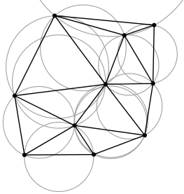 A Delauney triangulation, from https://en.wikipedia.org/wiki/Delaunay<em>triangulation