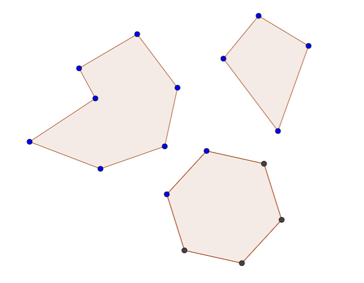 top to bottom, left to right : random polygon, kite, hexagon