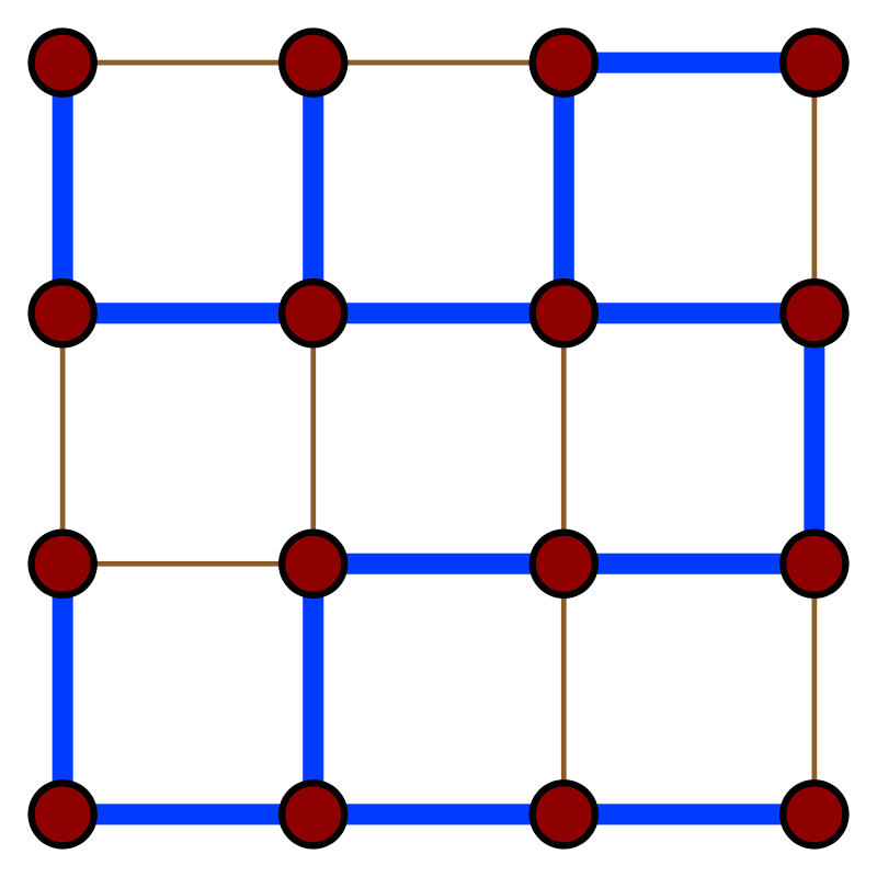 Graph with a spanning tree highlighted in blue