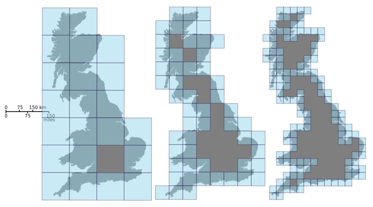 This picture estimates the Minkowski dimension of Great Britain by covering it with boxes of smaller and smaller size.