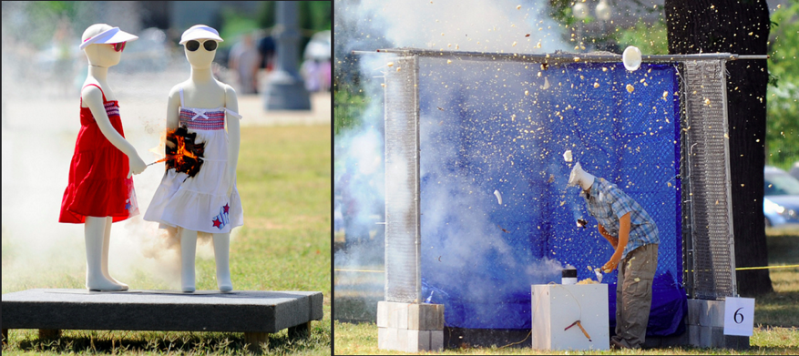 Both the open flame and the explosive nature of fireworks can cause injuries, as these plastic models illustrate [4]