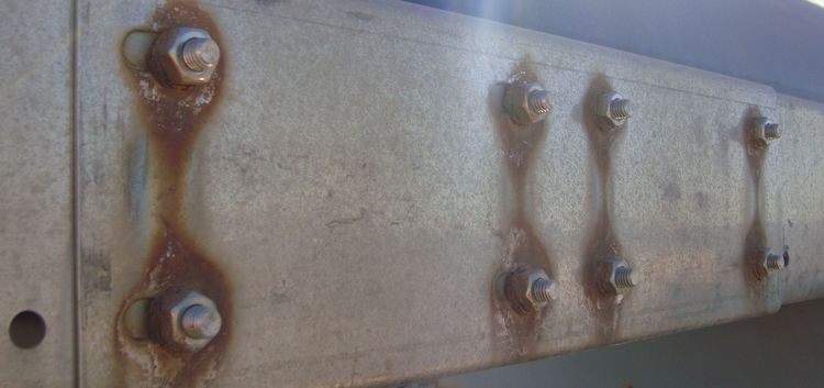 The anodic index between the bolts and the plate allows for galvanic corrosion. [3]