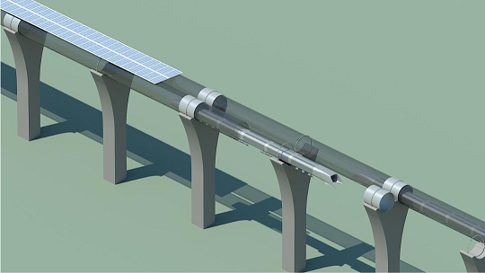 Arrays of solar panels mounted on the tube for the Hyperloop capsules would provide the energy to sustain operation. Image taken from [1].