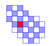 An irregularly shaped grid with one hole