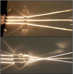 Above: diverging lens; Below: converging lens