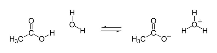 Lewis diagram showing the movement of hydrogen in the reaction between acetic acid and water