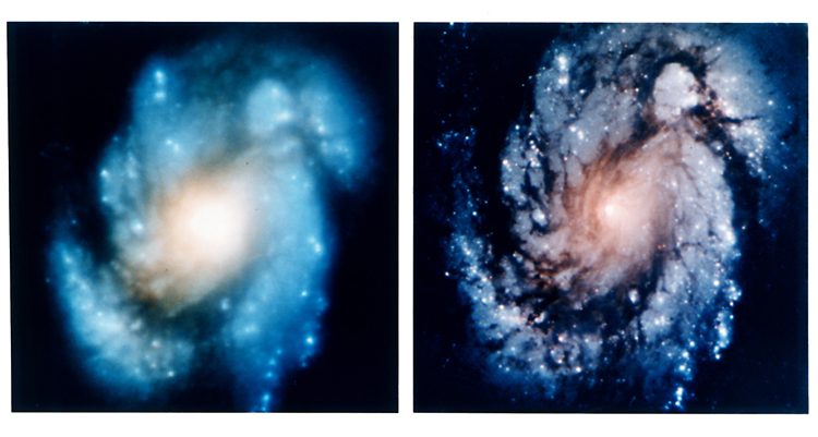 Images taken of the same Galaxy (M100) before and after NASA corrected a mistake on the Hubble telescope of 2 microns.