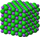 The unit cell for sodium chloride shows ordered, closely-packed ions. Public domain image.