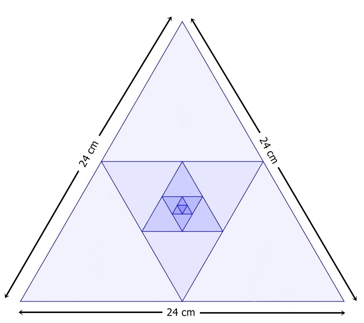arithmetic and geometric progressions problem solving  one side of an equilateral triangle is 24 cm the midpoints of its sides are joined to form another triangle whose midpoints in turn are joined to form