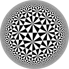 This is a tiling of the hyperbolic plane by congruent triangles.
