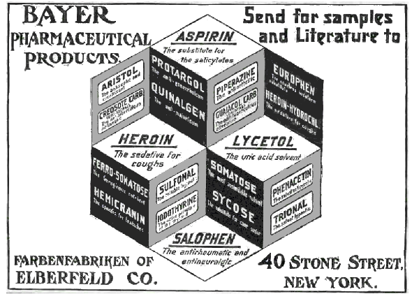 An early advertisement for Bayer products. This media file is in the public domain in the United States. This applies to U.S. works where the copyright has expired, often because its first publication occurred prior to January 1, 1923.