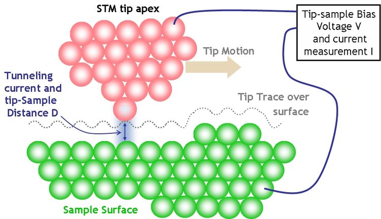 Diagrammatic setup of the scanning tunneling microscope [5].