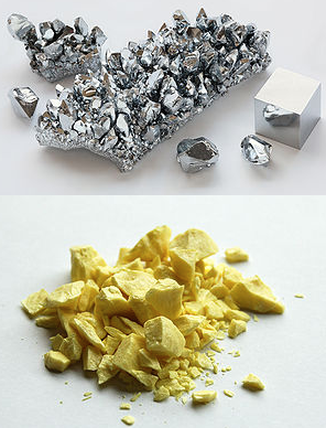 Chromium, a metal and sulfur, a non-metal