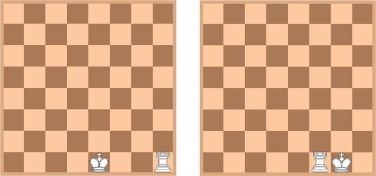 <strong>Left:</strong> the position before castling kingside. <strong>Right:</strong> the position after castling kingside