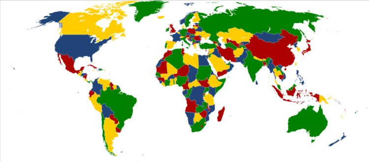 A map of the world, colored using four colors
