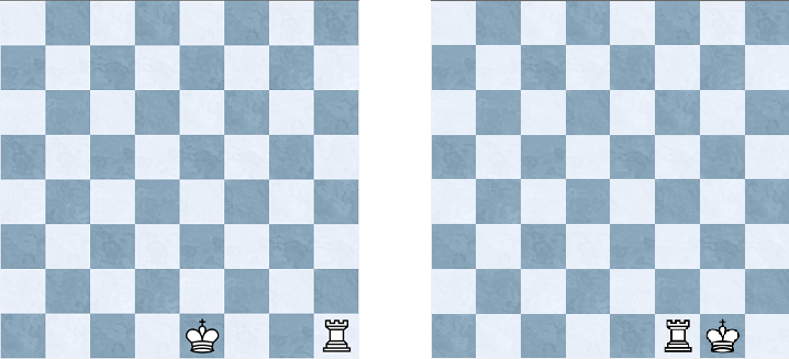 <strong>Left:</strong> the position before castling kingside. <strong>Right:</strong> the position after castling kingside
