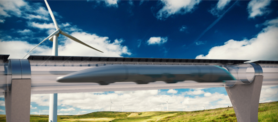 Artist's concept of an operating Hyperloop; image taken from [3].