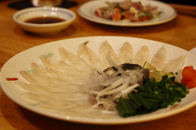 Pufferfish, or fugu, is usually served sashimi-style.