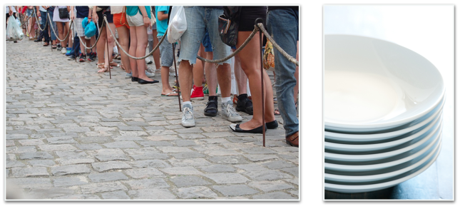 Think of a queue as a line of people, and a stack as a pile of plates
