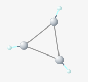 The carbon-carbon bonds of cyclopropane are bent to about 50 degrees, straining the molecule.