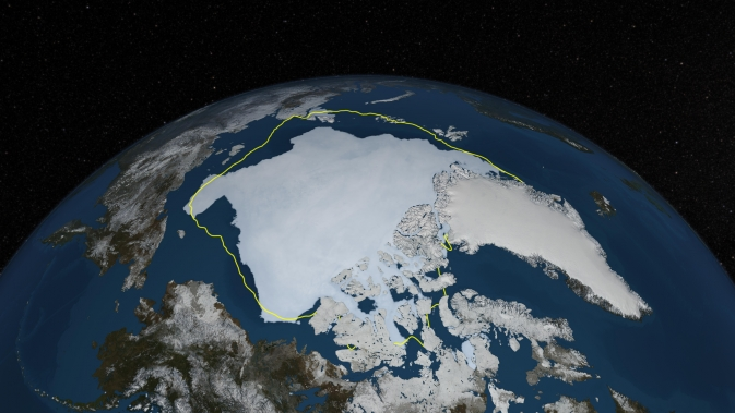 A visualization of Arctic sea ice cover, September 2013. The yellow line marks the 30-year average minimum extent. [3]